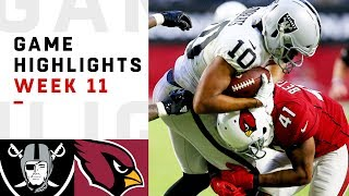 Raiders vs. Cardinals Week 11 Highlights | NFL 2018