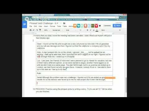 Phrasal Verb Challenge (Letters E-F)