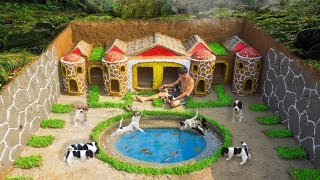 Rescue Abandoned Puppies Build Underground House For Dog And Fish Pond Around House