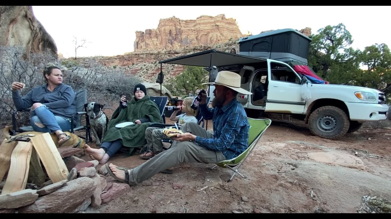 Firebox Stove Cooking In Utah's Remote Desert Wilderness Family Truck Camper + RTT Sleeps Six