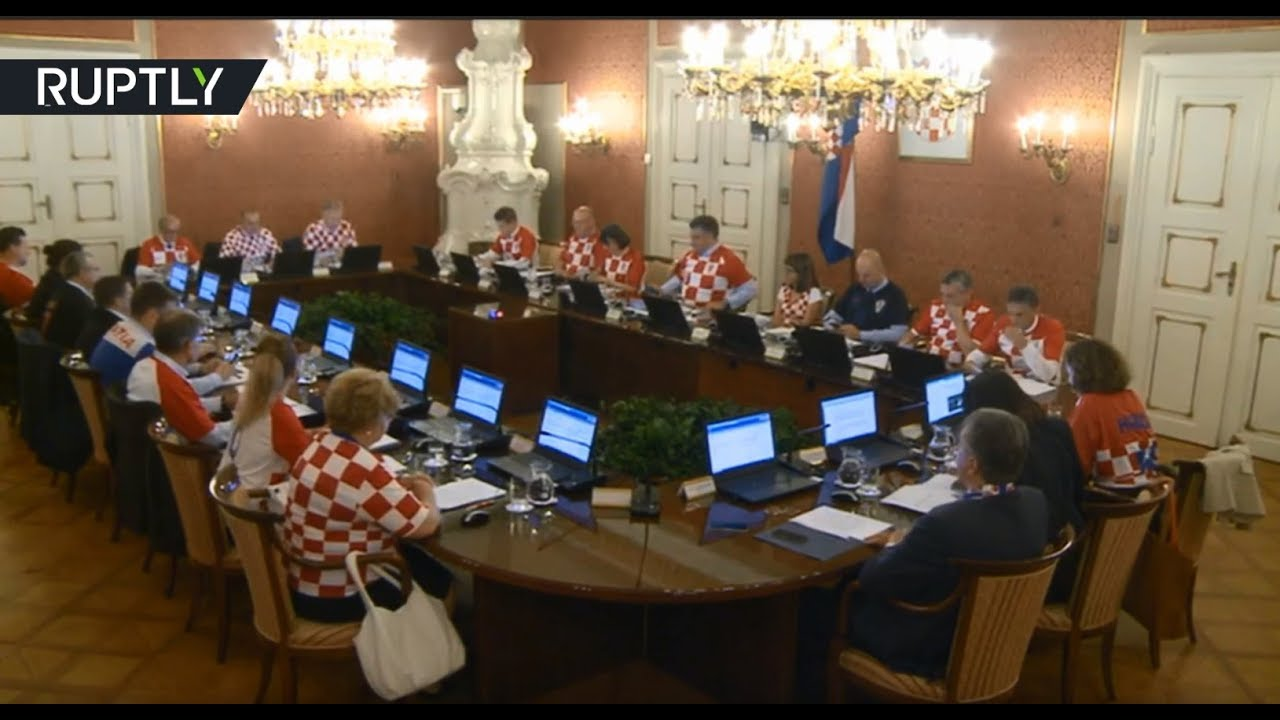 Croatia Govt members wear national football jerseys after dramatic 2-1 win over England
