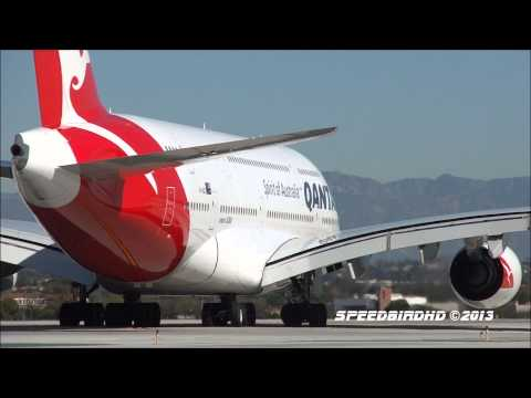 Qantas Airways Airbus A380-842 [VH-OQD] Takeoff From Los Angeles
