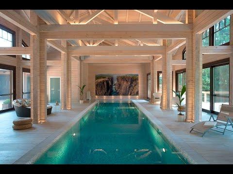Дом с бассейном из клееного бруса в современном стиле: спа, баня, хамам. Палекс-Строй