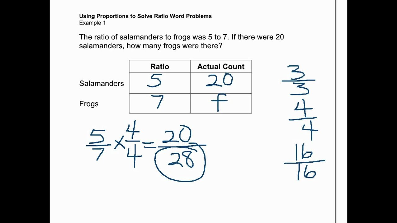 proportions solve ratio word problems