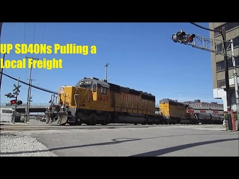 UP SD40Ns Pull Local Freight Train in Kansas City, MO
