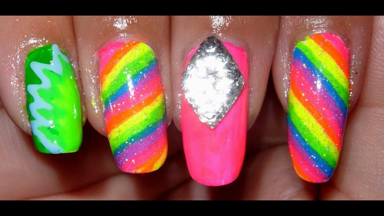 Neon, Rainbow Nails!!! - YouTube