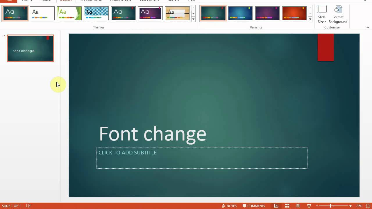 microsoft powerpoint 2013 how to change the default font for a theme