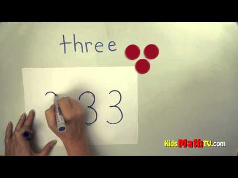 Number 3 ( three) - Learn to spell, trace numbers & count objects, Kindergarten & 1st graders