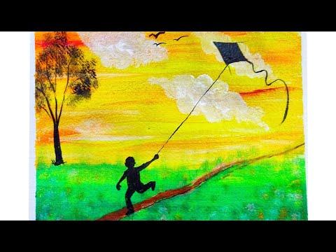 Kid playing Kite | Makar Sankranti | Acrylic Landscape| Acrylic Painting | Daily challenge Art |
