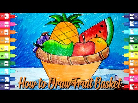 How To Draw Fruit Basket Easy Step By Step