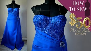 How To Sew A Built In Bra Cup Lace Bodice Gown $50 (Part 2 EP 08)