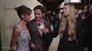 charlie heaton and natalia dyer acting like an old married couple on the red carpet
