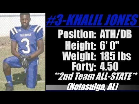 2016-'Street Light Recruiting' ATH- KHALIL JONES '6' 0''- 185- 4.5 Forty' NOTASULGA HIGH SCHOOL (AL)
