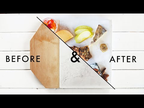 EASY DIY MARBLE AND WOOD CUTTING BOARD + STYLING TIPS!