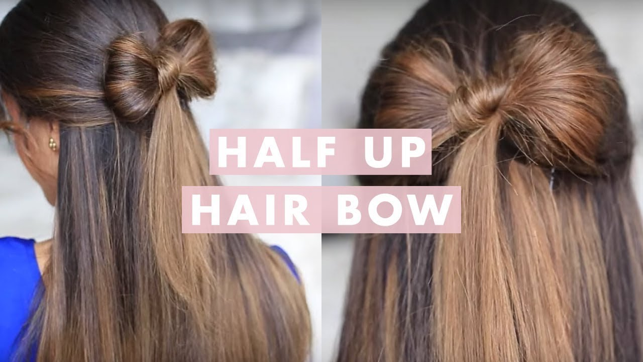 Half-up Hair Bow Cute Hair Tutorial - YouTube