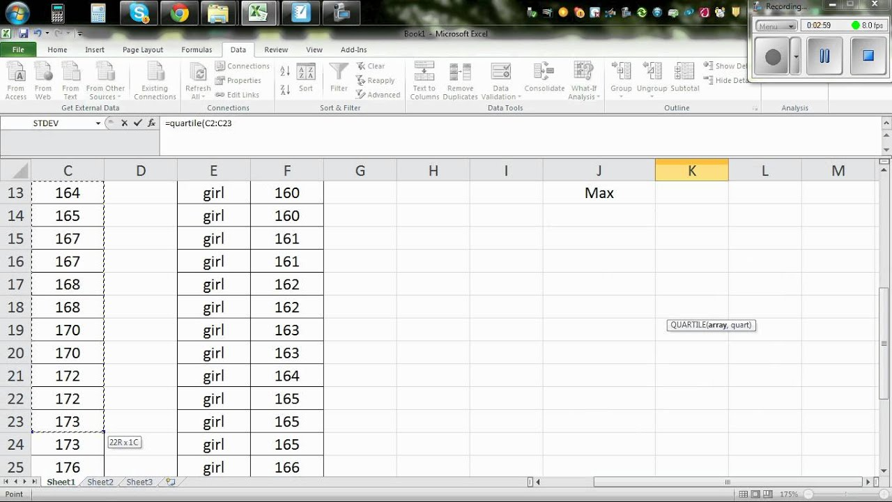 Calculating The Five Number Summary Statistics Using Excel