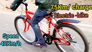 How To Make  Electric Cycle At Home   Electric kit installation in Cycle