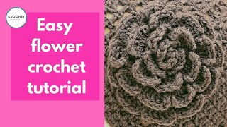 Easy Pretty Rose Flower - Crochet tutorial