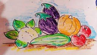 vegetables easy draw drawings pastel basket simple oil