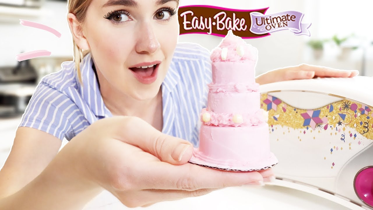 Baking A Mini 3-Tier Cake In An Easy Bake Oven !!