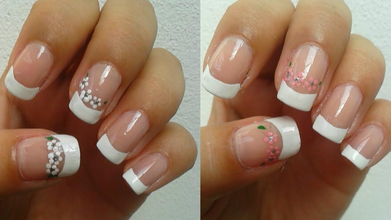 Manicure Frances Con Detalle De Flores French Manicure With