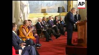 The Dalai Lama will receive the Congressional Gold Medal, the country