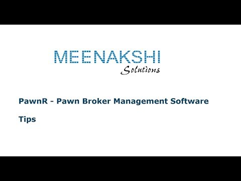 PawnR : Pawn Broker / Gold Loan Software : Tips Part1 (Tamil)