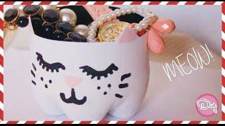 CAT JEWELRY POT FROM PLASTIC BOTTLES!! (Tutorial) ▲ Paula Torab