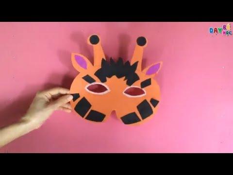 Làm đồ chơi trung thu | Cách làm mặt nạ con vật con hươu cao cổ cho bé | Dạy bé học