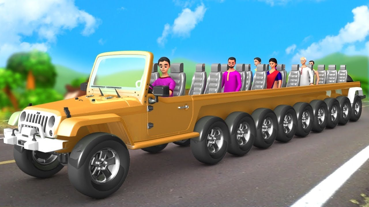 दस पहिया स्पोर्ट्स जीप - 10 Wheel Magical Sports Jeep 3D Animated Hindi Moral Stories Maa Maa TV