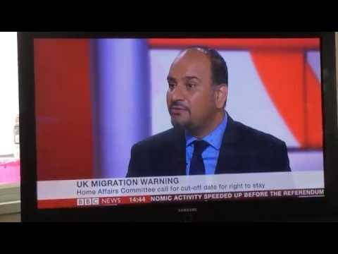 Harjap Singh Bhangal interviewed by BBC News regarding EU Migrants in UK post Brexit