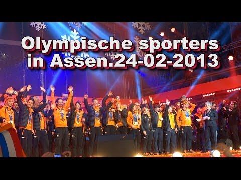 Olympische sporters in Assen 24 02 2014