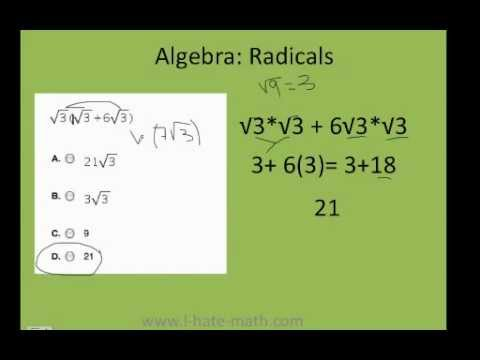 How to simplify radicals PERT test Practice - YouTube