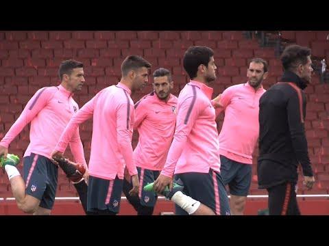 Atletico Madrid Train At Emirates Stadium Ahead Of Arsenal Europa League Semi-Final Clash