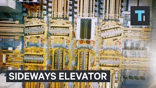 This elevator is straight out of Willy Wonka — it can go sideways