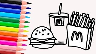 Сoloring and Drawing Fast food for kids - Learn Colors for Kids. ART BOX