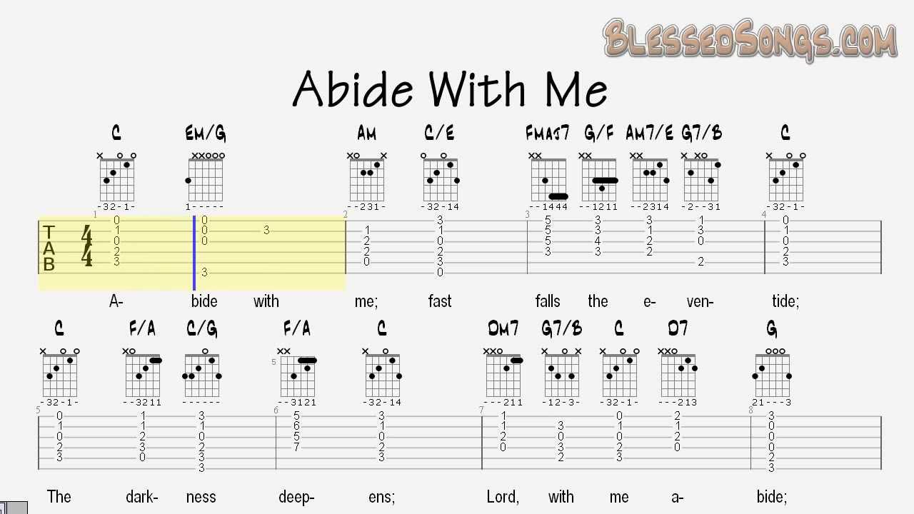 Abide With Me Classical Guitar Lesson Tablature And Chords Youtube