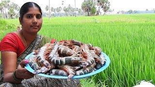 TIGER PRAWNS masala recipes | Buy Biggest shrimp outdoor cooking and eat food