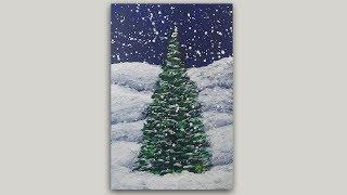 Winter Pine Tree Acrylic Painting - One Brush Painting