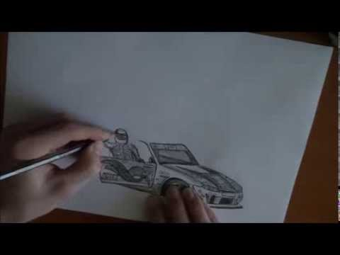 Drawing A Drift Car Youtube