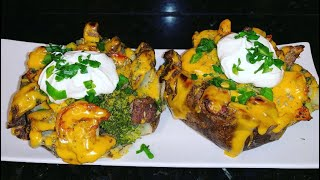 How to make a Loąded baked potato with shrimp and steak