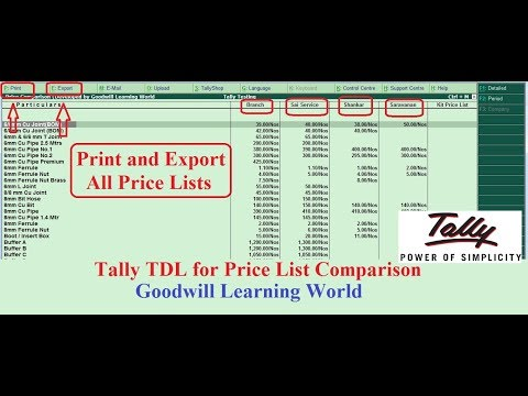 Amazing Tally TDL to Compare , Print and Export All Price Li
