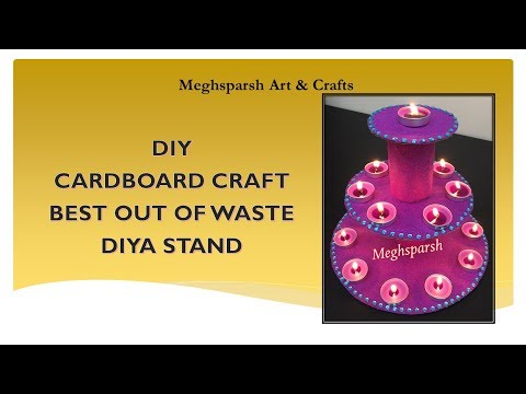 DIY-DIYA STAND-HOME DECOR-DIWALI DECOR-BEST OUT OF WASTE-IN HINDI