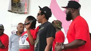 Jay-Z Surprise Appearance and speech at Trayvon Martin Peace Walk