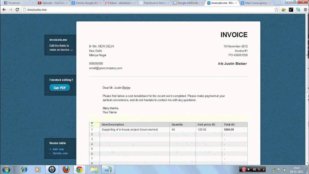 Create Your Invoice   Online Invoice Generator And Software   YouTube  Invoice Generator Software