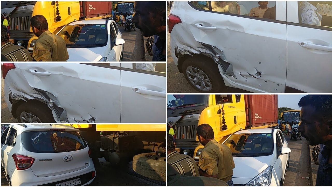 Car And Tanker Lorry Accident Today At HMT Junction Car