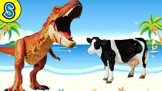 Trex vs Cows | Skyheart's dinosaur toys for kids jurassic world fight mattel schleich dino