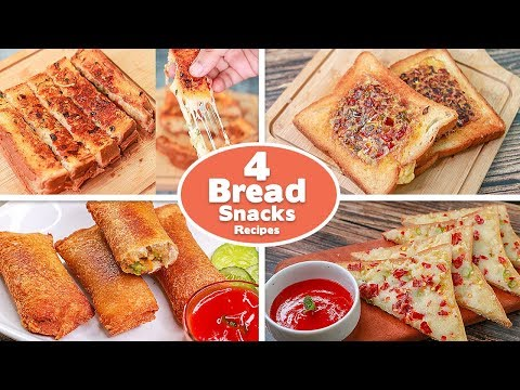 4 Easy Bread Snacks Recipes | Omelette Sandwich |Garlic Cheese |Cheese Toast| Potato Bread | Toasted