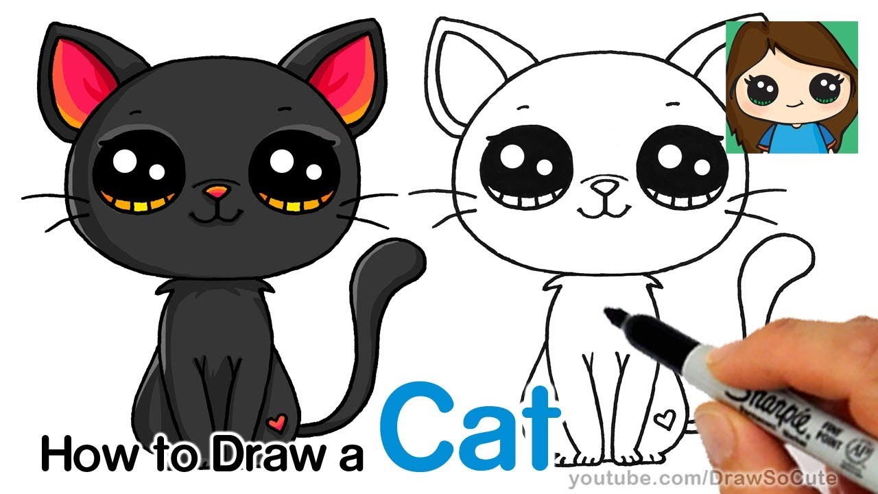 How To Draw A Black Cat Easy Youtube