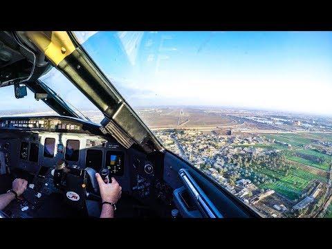 Bombardier CRJ900 Cockpit Landing at Baghdad International Airport